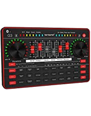 Live Sound Card, Noise Reduction Audio Mixer USB External Game Voice Changer Microphone Musical Instruments for Double Cell Phone and Computer PC Recording Streaming Singing Interfaces for Youtube