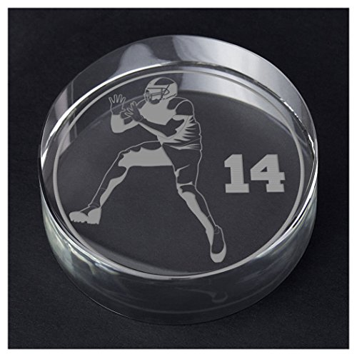 ChalkTalkSPORTS Football Personalized Crystal Award and Gift | Reciever Silhouette with Custom Number