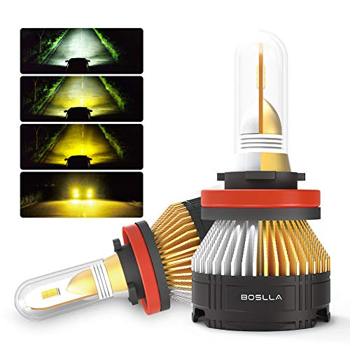 BOSLLA Headlight Bulbs LED 4 Modes for H11/H8/H9,7200LM 6000K/4300K/3000K/Warning Flash for Sunny,Rainy,Foggy,Snowy and Emergency (H11/H9/H8) (9 16 Bullet Plugs)