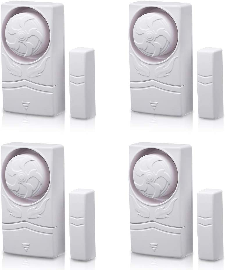 Wsdcam Magnetically Triggered Alarms for Doors or Windows Home Security Window/Door Alarm Kit, Loud 110 dB Alarm (4 Pack)