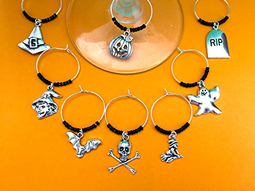 Halloween Theme Wine Charms, Halloween Gift. Witch, Jack-o-lantern, Bat, Ghost, Skull and crossbones. Set of 8. BLACK BEADS. -