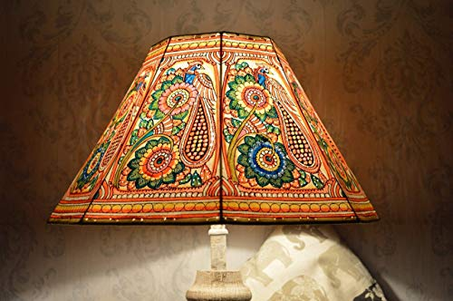 Table Lamp Octagonal - Peacock pattern Floor Lamp shade Large | Handmade Leather Multi Colour Garden Lamp Shade in Octagonal Shape - HT-9.5 and WID-16 inches