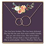 Dear Ava Thinking of You Gift Necklace: Condolence, Inspirational Quote, Cancer, Illness, Long Distance Friendship, 2 Interlocking Circles (Rose-Gold-Plated-Brass, NA)