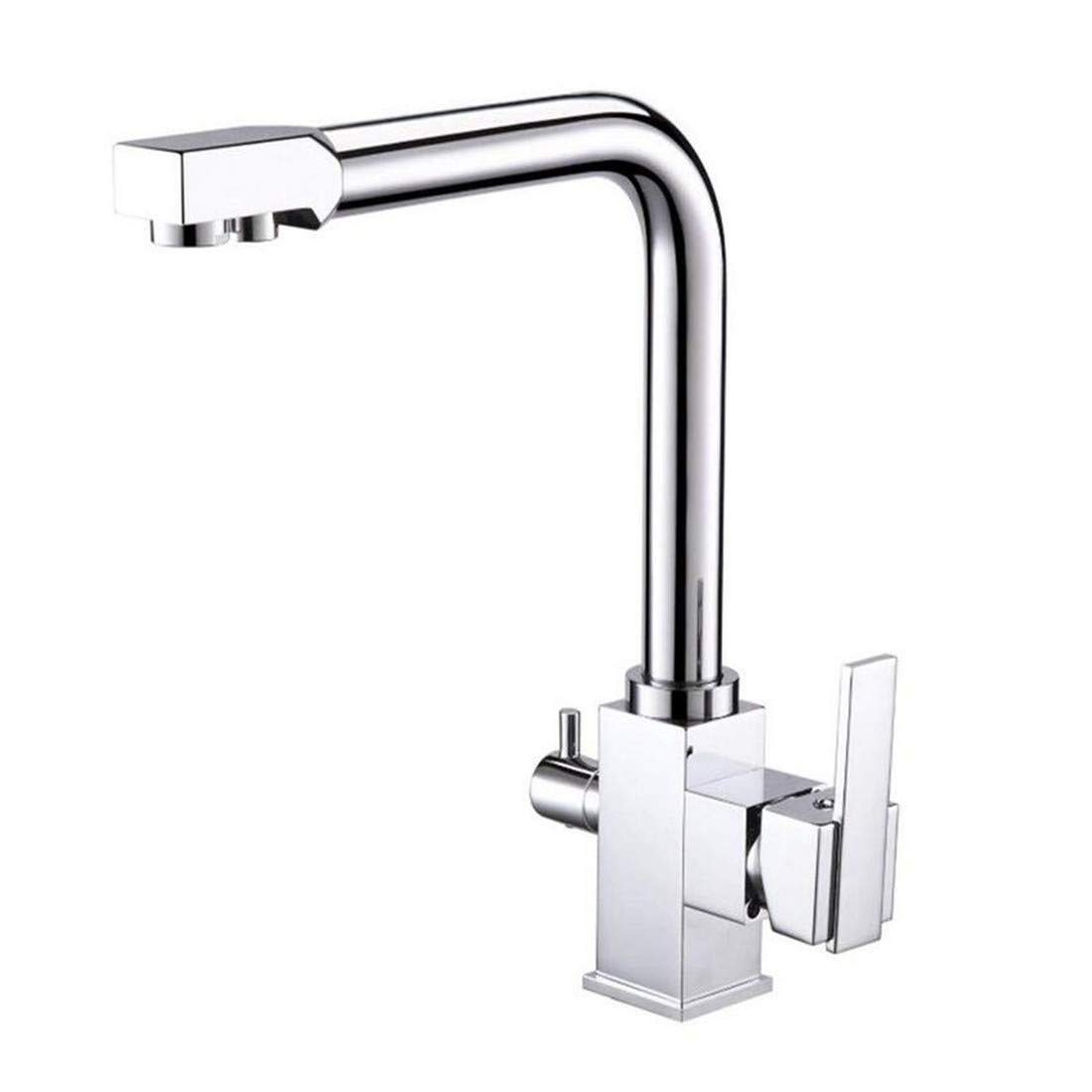 Vintage Chrome Brass Kitchen Commercial Chrome Solid Brass Single Hole Double Handles 3 Way Water Filter Square Swivel Spout