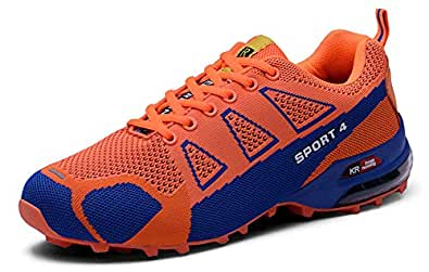 RESPEEDIME Non-Slip Sports Sneakers Mens Wearable Comfort Air Cushion Hiking Shoes Orange 5.5UK