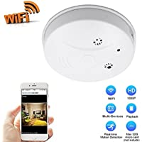 DVR Wi-Fi Smoke Detector Camera Motion Detection 1080P Wireless IP Indoor Baby Pet Monitor Remote Free App View Nanny Cam Home Security Camera SD Card Storage to 32GB(Heymoko)