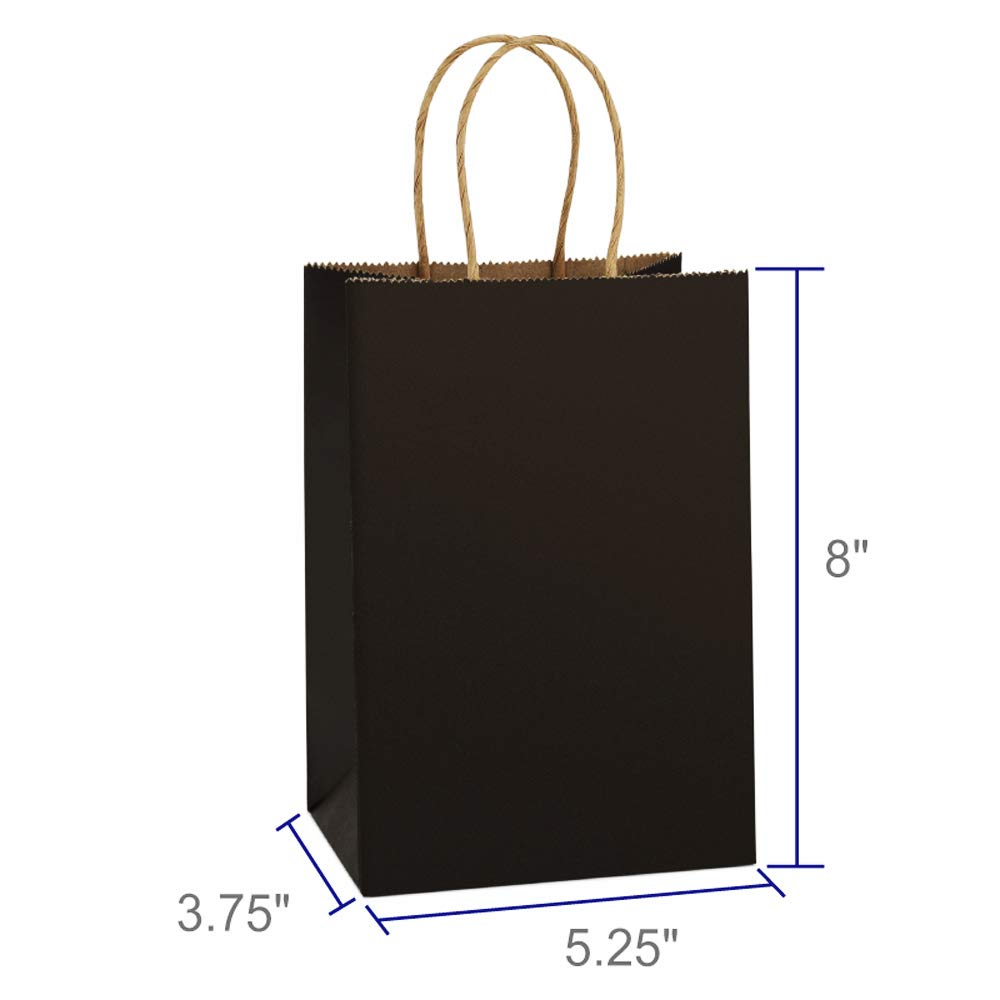BagDream Kraft Paper Bags 25Pcs 5.25x3.75x8 Inches Small Paper Gift Bags Shopping Bags, Kraft Bags, Party Bags, Black Bags with Handles Bulk