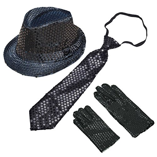 BUYITNOW Sequin Gloves, Sequin Trilby Hat, Sequin Necktie Set for Cosplay Party Halloween Carnival Outfit for Kids ()
