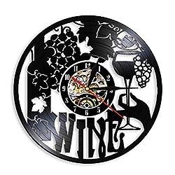 Hrwdz Wine Logo Wall Clock Winery Bottle Glass Grape Vine Drink Drinking Alcohol Liquor Pub Bar Label Emblem Vinyl Record Wall Clock