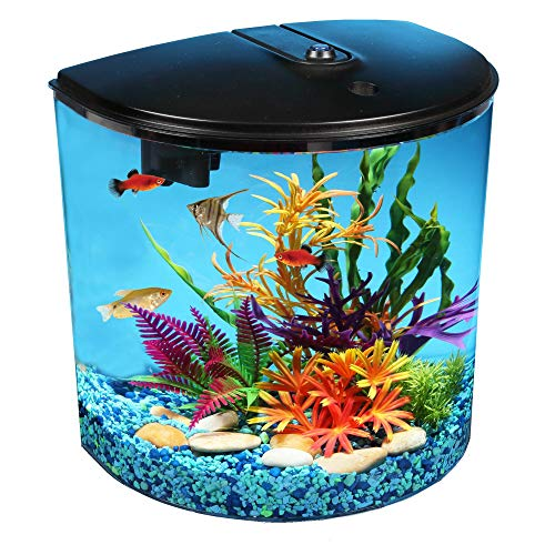 Koller Products 3.5-Gallon Aquarium Kit with Power Filter and LED Lighting, (AP35000BLK) ()