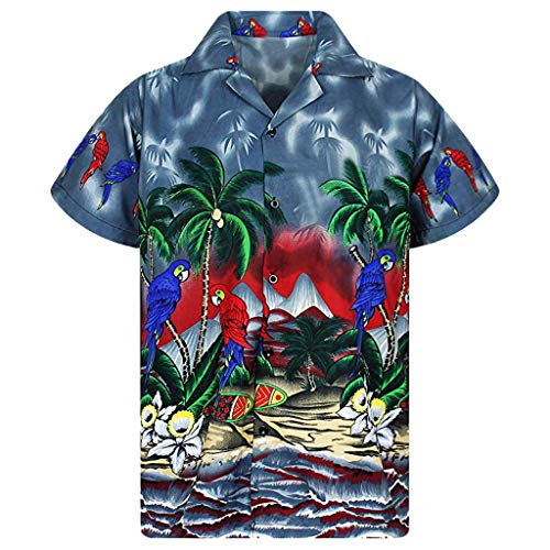 Mens Hawaiian Print Shirt Stag Beach Party Summer Holiday Fancy Blouse D Navy