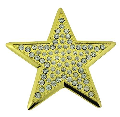 Belt Gold Buckle Bling (Texas Star Belt Buckle Rhinestones Gold Bling Hip Rock Sheriff Men Women)