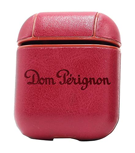 (Logo DOM PERIGNON 1 (Vintage Pink) Air Pods Protective Leather Case Cover - a New Class of Luxury to Your AirPods - Premium PU Leather and Handmade exquisitely by Master Craftsmen)