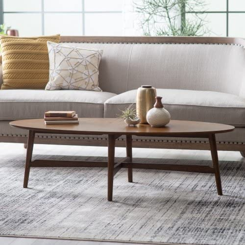 Darby Mid Century Modern Coffee Table Oval Top Made with Solid Poplar, Rubberwood, and Birch Veneers in Dark Walnut Finish 57.88W x 23.63D x 16.88H in.