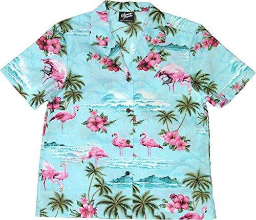 RJC Women's Flamingo Paradise Hawaiian Camp Shirt Blue XL (Paradise Camp Shirt)