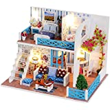 Miniature Dollhouse DIY Mini House Kit with Led Lights and Furniture for Gift Set