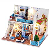 DollLabs Miniature Dollhouse DIY Mini House Kit with Led Lights and Furniture for Gift Set