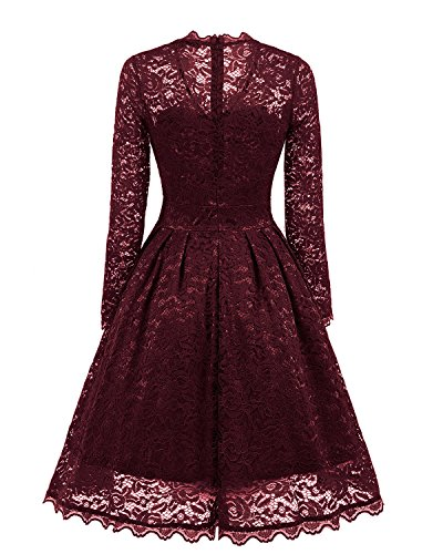 54722b8022d Polkra Women Floral V-Neck Long Sleeve Bridesmaid Prom Cocktail Party Lace  Wedding Dress