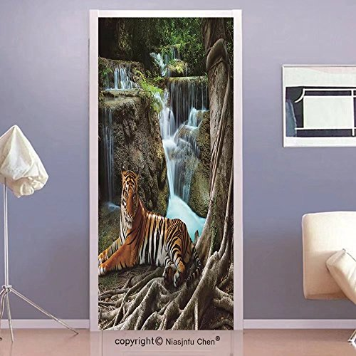 Niasjnfu Chen custom made 3d Door Wall Mural Wallpaper Safari Decor Collection Indochina Tiger Lying with Relaxing under Banyan Tree Against Limestone Waterfalls Picture Bedroom Living Room Dorm Green Custom Made Tiger