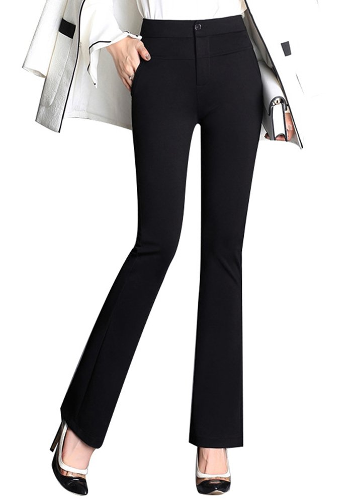 Smibra Womens Comfortable Fit Office Work Trousers Elastic Bootcut Long Trousers
