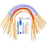 TecUnite 18 Pairs Bamboo Wooden Circular Knitting Needles Set (2-10 mm) with 5 Kinds of Tools for Weaving, 16 Inch and 40 Inch Length