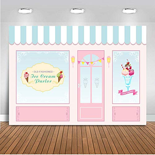 Mehofoto Ice Cream Parlor Shop Backdrop Pink Blue Kid Child Birthday Photography Background 7x5ft Vinyl Ice Cream Themed Birthday Party Banner Event Supplies ()