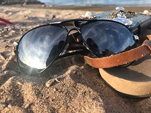 3307d0d03 ROCKNIGHT Polarized Aviator Sunglasses for Men Women Metal Frame Flat Top  Sunglasses Lightweight Silver Mirror Lens