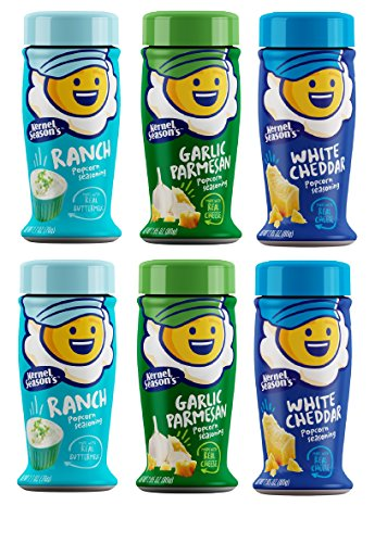 Kernel Season's Popcorn Seasoning Variety Pack of 6 Ranch Parmesan & Garlic and White Cheddar by Kernel Season's