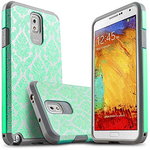 Galaxy Note 3 Case, Starshop [Shock Absorption] Dual Layers Impact Advanced Protective Cover with [Premium HD Screen Protector Included] for Samsung Galaxy Note 3 (Light Blue Lace)
