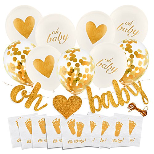 Baby Decorations Bundle - Boy/Girl Unisex - Napkins/Balloon/Heart Balloons/Banner/Confetti Balloon/Oh Baby - Baby Shower Decoration - Gold and White Decor - Neutral Party Supplies - Pre-Strung