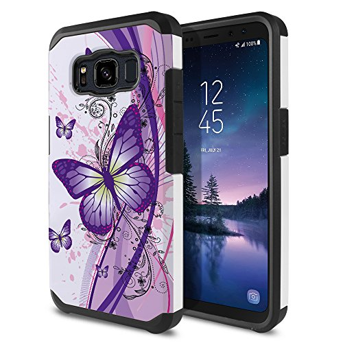 - FINCIBO Case Compatible with Samsung Galaxy S8 Active G892A 5.8 inch, Dual Layer Hard Back Hybrid Protector Case Cover TPU for Galaxy S8 Active (NOT FIT S8/ S8 Plus) - Purple Butterfly (Style 2)