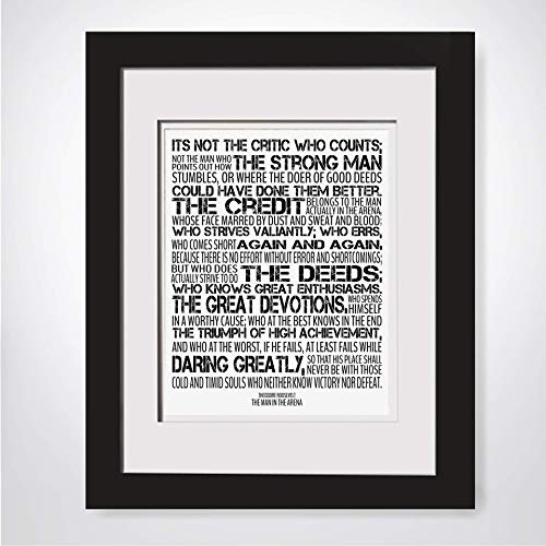 The Man In The Arena Print|Theodore Roosevelt Quote|Office Quote Print|Teddy Roosevelt Quote|Graduation Gift For Him|Military Gift For Boss