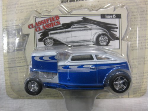 Classified Classics Detailed Engine Compartment With Removable Hood & Rubber Wheels Silver and Blue Old Style Roadster Issue #5 Racing Champions LE Die-Cast Collectibles 1:64 (Silvers Style Wheel)