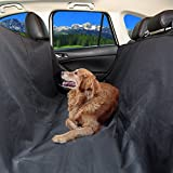 Vivifying Dog Car Seat Cover - Hammock Style Waterproof Pet Seat Protector for Cars with Side Flaps and Seat Anchors (Black)