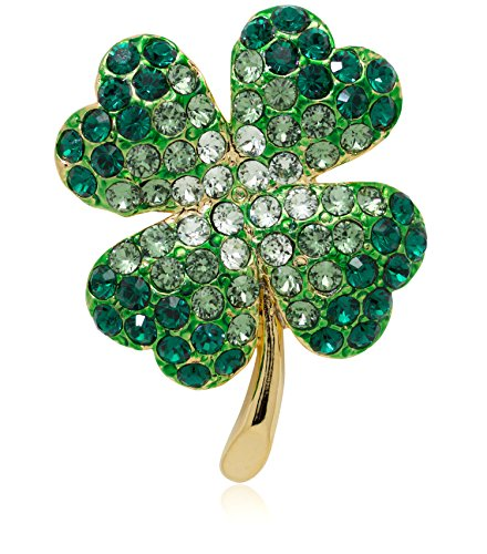 Akianna Gold-tone Swarovski Element Crystals St Patrick Day Four Leaves Clover Pin Brooch