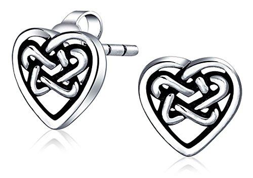 Celtic Knot Heart Love Stud Earrings Filigree 925 Sterling Silver 10mm