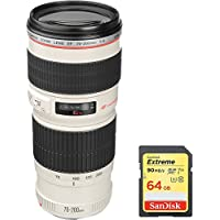 Canon EF 70-200mm F/4.0 L USM Lens (2578A002) with Sandisk 64GB Extreme SD Memory UHS-I Card w/ 90/60MB/s Read/Write
