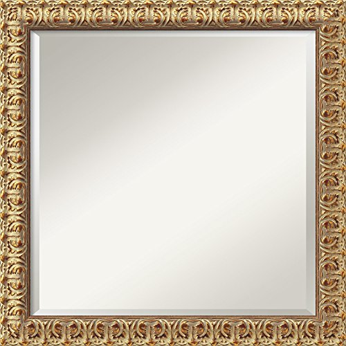 Amanti Art Framed Florentine Gold Solid Wood Wall Mirrors, Glass Size 20x20,