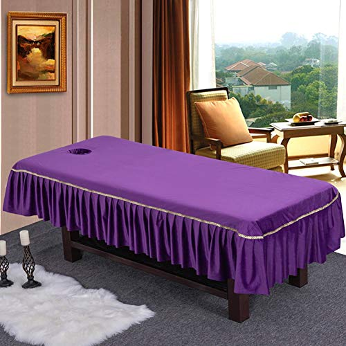 TENCMG Beauty Massage Bed Sheets, Salon Massage SPA Couch Soft Cotton Bed - Cover Protector with Face Breath Hole,D,60/90cmuniversal