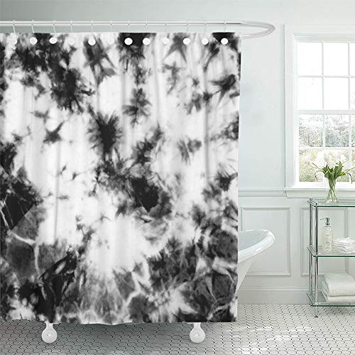 Emvency Shower Curtain Waterproof Adjustable Polyester Fabric Abstract Tie Dyed Black White Pattern on Hand Fabrics Shibori Dyeing Batik 60 x 72 Inches Set with Hooks for - Hand Batik Fabric Dyed