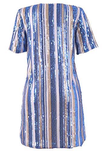 Vestito Maglietta Scintilla Mini Scintillio Vestito Manica Bluewolfsea Corta Blu Partito Di Paillettes Arcobaleno Delle Donne Allentata Clubwear Della qHxw8B1