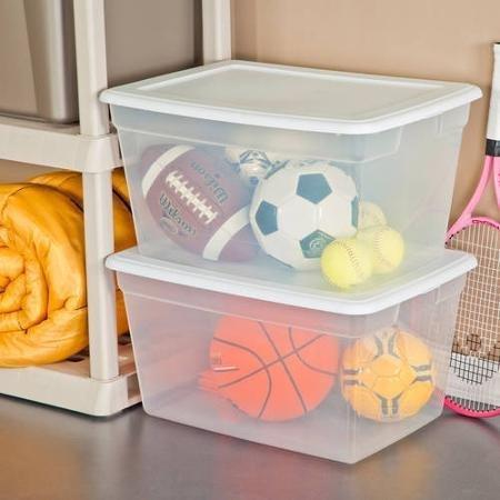 Sterilite 58 Quart See Through Plastic Storage Box with Lid, White, (White) (Case of 8)