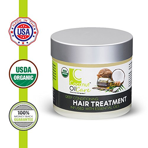Coconut Oil Care 100% USDA Certified Organic Deep Conditioning Hair Treatment – Vegan-Safe, Cruelty- & Chemical-Free Moisturizing Repair Mask With Coconut & Essential Oils – 4 Ounces
