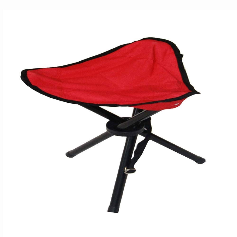 Outdoor Wrought Iron Folding Chair Triangle Design Modern Minimalist Lightweight Portable Camping Picnic Travel Fishing Mountaineering BBQ Outdoor 2 Colors Optional (Color : Red)