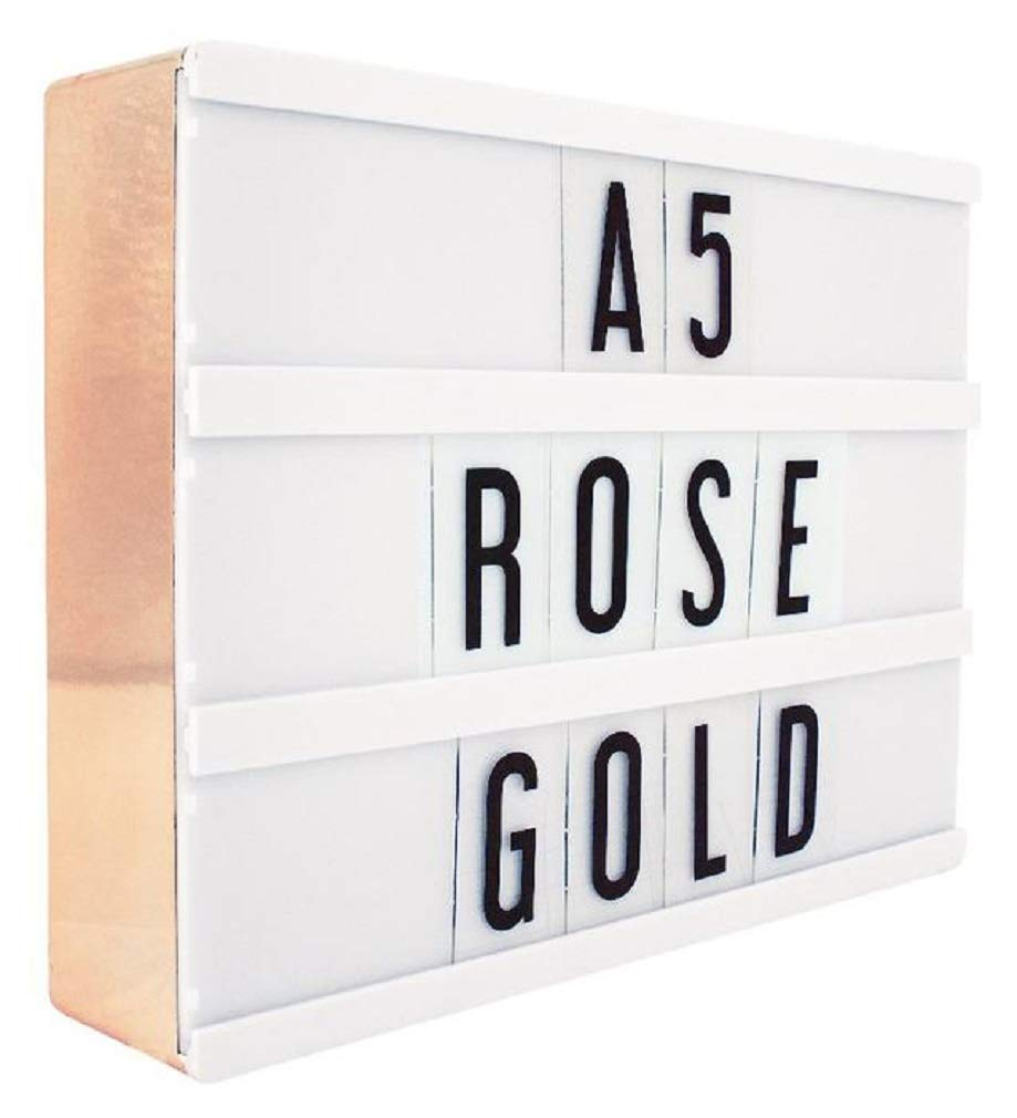 iscream Locomocean 7.75'' A5 Marquee LED Rose Gold Light Box Accent Light with 100 Interchangable Letters & Characters by iscream