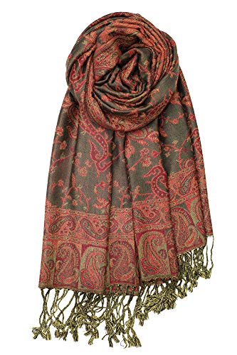 Achillea Soft Silky Reversible Paisley Pashmina Shawl Wrap Scarf w/Fringes (Olive Burgundy -
