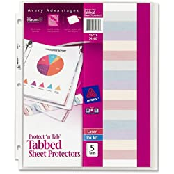 Avery Protect 'n Tab Tabbed Sheet Protectors, Acid Free, 5-Tab Pack (74160)