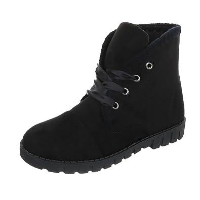 Ital Et Chaussures Femme Plat Bottines À Bottes Lacet 0nPFq