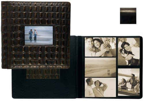 ROMA BLACK smooth grain leather #113 window album with 5-at-a-time pages by Raika - 4x6