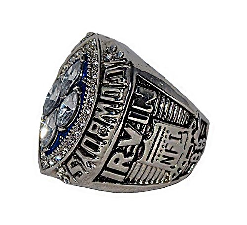 DALLAS COWBOYS (Michael Irvin) 1993 SUPER BOWL XXVIII WORLD CHAMPIONS Vs. Buffalo Bills (Back to Back Champs) Rare & Collectible Replica NFL Silver Championship Ring with Cherrywood Display Box